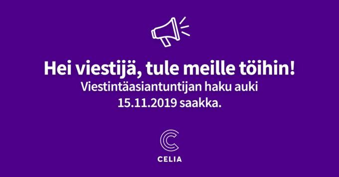 """Megafoni violetilla taustalla. Kuvassa teksti: """"Viestijä, tule meille töihin! Viestintäasiantuntijan haku auki 15.11.2019 saakka."""""""