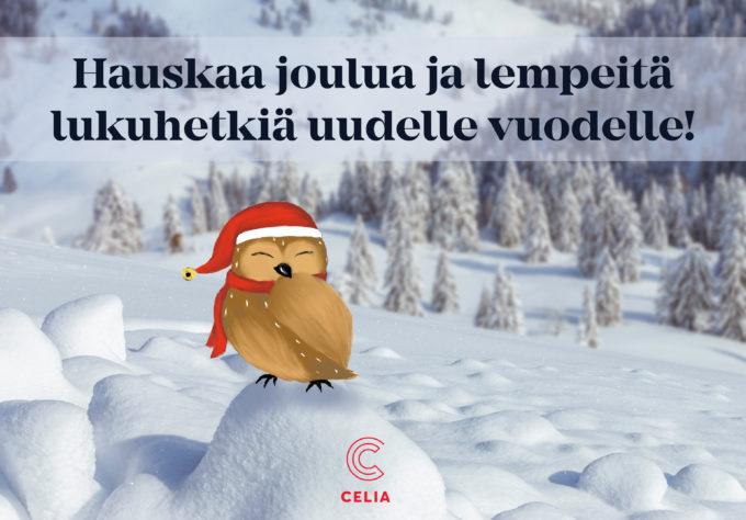 Pöllö lumikinoksen päällä tonttulakki päässä, yllä teksti Hauskaa joulua ja lempeitä lukuhetkiä uudelle vuodelle.