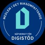 """En blå logotyp med text: """"Medlem i det riksomfattande nätverket för digistöd""""."""
