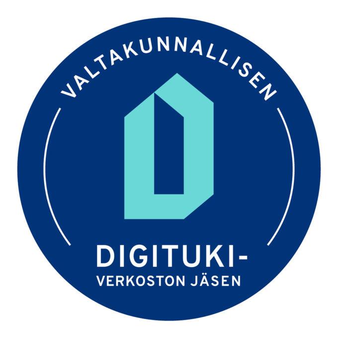 """Sininen logo, jossa teksti: """"Valtakunnallisen digitukiverkoston jäsen""""."""