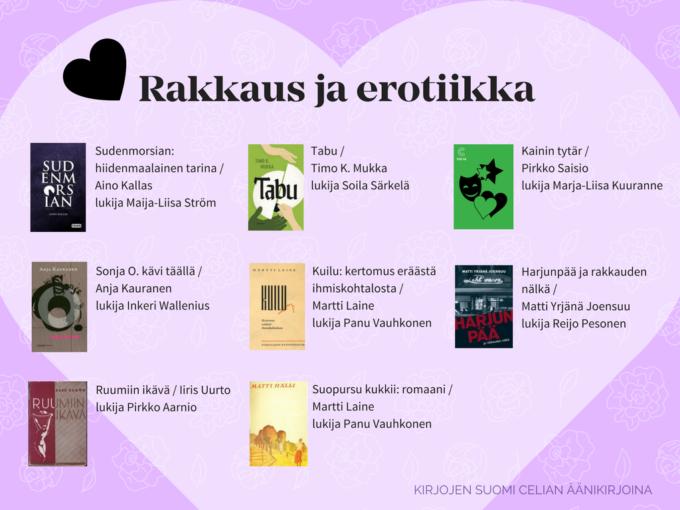 kuva rakkaus- ja erotiikka-aiheisista kirjojen kansista Kirjojen Suomi -hankkeessa