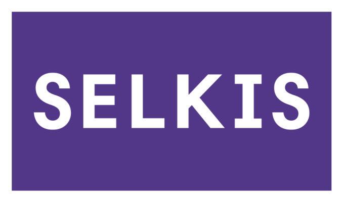 Selkis-materiaalipaketin logo, valkoinen teksti violetilla taustalla