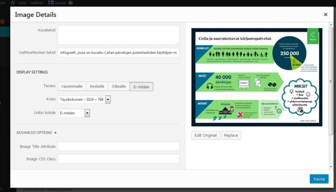 Esimerkki infograafin vaihtoehtoisesta tekstistä. Kuvakaappaus WordPress-editorista.