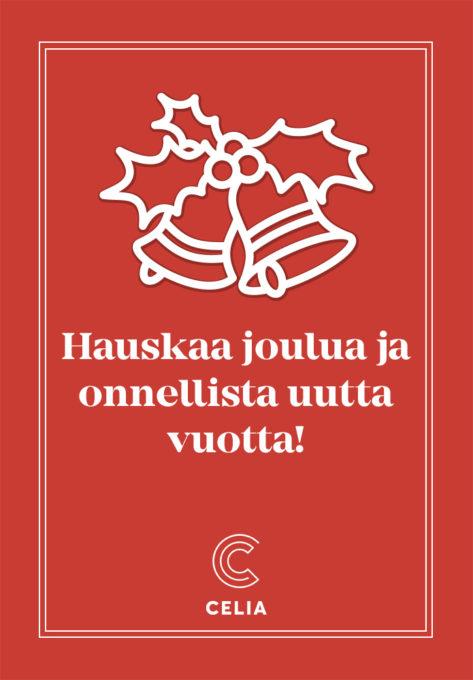 Hauskaa joulua ja onnellista uutta vuotta! Kuvassa valkoiset joulukellot punaisella taustalla.