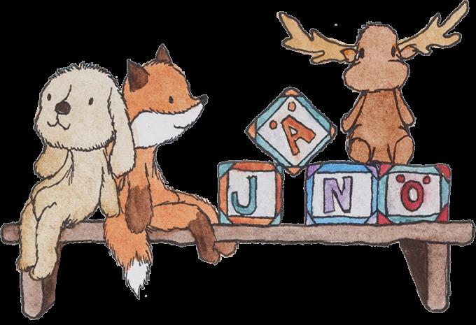 """Pehmoeläimiä istuu leluhyllyllä. Pupun, ketun ja hirven vieressä on myös lelupalikoita, joissa lukee """"jänö""""."""